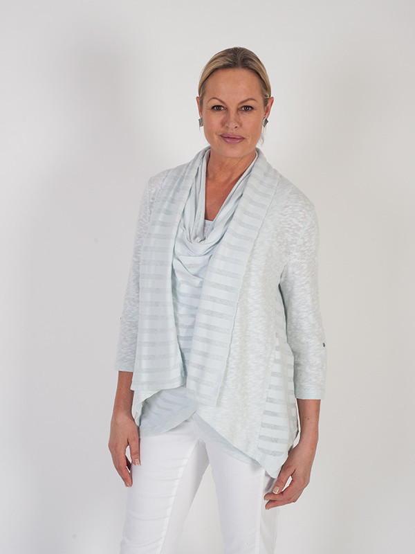Vetono Light Blue Mixed Fabric Jersey Cardigan - pattern: horizontal stripes; neckline: collarless open; style: open front; predominant colour: pale blue; occasions: casual; length: standard; fibres: cotton - mix; fit: loose; sleeve length: 3/4 length; sleeve style: standard; texture group: knits/crochet; pattern type: fabric; season: s/s 2016; wardrobe: highlight