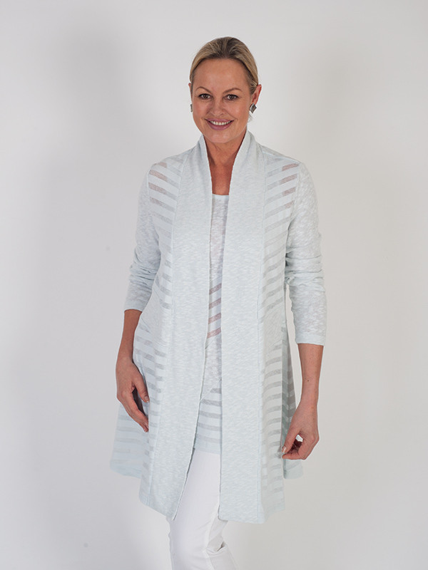 Vetono Light Blue L/S Mixed Fabric Jersey Cardigan - pattern: plain; neckline: shawl; style: open front; predominant colour: pale blue; occasions: casual, creative work; fibres: cotton - mix; fit: standard fit; length: mid thigh; sleeve length: 3/4 length; sleeve style: standard; texture group: knits/crochet; pattern type: fabric; season: s/s 2016; wardrobe: highlight