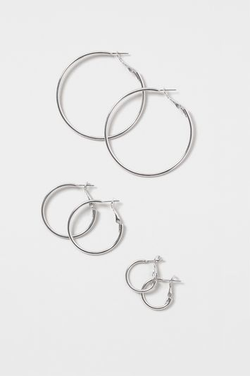 Fine Hoop Earring Multi Pack - predominant colour: silver; occasions: evening, creative work; style: hoop; length: mid; size: small/fine; material: chain/metal; fastening: pierced; finish: metallic; embellishment: chain/metal; season: s/s 2016; wardrobe: basic