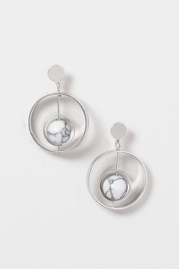 Semi Precious Stone Earring - secondary colour: ivory/cream; predominant colour: silver; occasions: evening, occasion; style: hoop; length: mid; size: standard; material: chain/metal; fastening: pierced; finish: metallic; season: s/s 2016; wardrobe: event