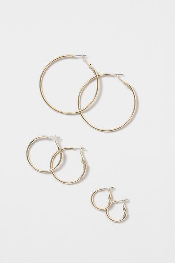 Fine Hoop Earring Multi Pack - predominant colour: silver; occasions: evening; style: hoop; length: mid; size: standard; material: chain/metal; fastening: pierced; finish: metallic; season: s/s 2016; wardrobe: event
