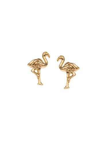 Mini Flamingo Stud Earrings By Orelia - predominant colour: gold; occasions: evening, creative work; style: stud; length: short; size: standard; material: chain/metal; fastening: pierced; finish: metallic; season: s/s 2016; wardrobe: basic