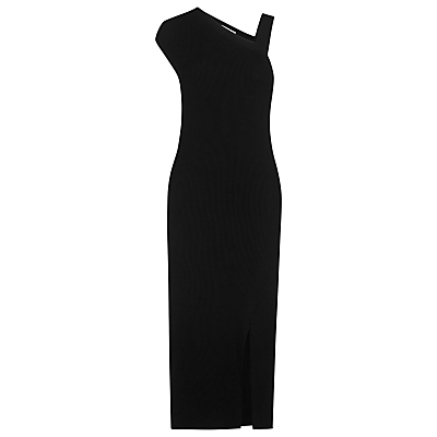 Asymmetric Rib Knit Dress, Black - pattern: plain; style: asymmetric (top); sleeve style: asymmetric sleeve; length: ankle length; neckline: asymmetric; predominant colour: black; occasions: evening; fit: body skimming; fibres: nylon - mix; sleeve length: sleeveless; texture group: knits/crochet; pattern type: knitted - other; season: s/s 2016; wardrobe: event