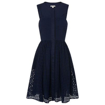 Lattice Broderie Full Dress, Navy - sleeve style: sleeveless; waist detail: fitted waist; predominant colour: navy; occasions: casual; length: on the knee; fit: fitted at waist & bust; style: fit & flare; fibres: cotton - 100%; neckline: crew; hip detail: adds bulk at the hips; sleeve length: sleeveless; pattern type: fabric; pattern: patterned/print; texture group: broiderie anglais; season: s/s 2016; wardrobe: highlight