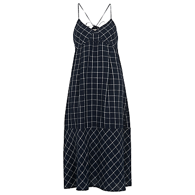 Maria Linen Swing Check Dress, Navy - length: calf length; neckline: v-neck; sleeve style: spaghetti straps; fit: empire; style: sundress; pattern: checked/gingham; back detail: back revealing; secondary colour: white; predominant colour: navy; occasions: casual, holiday; fibres: linen - 100%; hip detail: subtle/flattering hip detail; sleeve length: sleeveless; texture group: linen; pattern type: fabric; pattern size: standard; season: s/s 2016; wardrobe: highlight