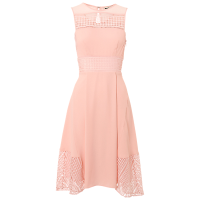Maisie Graphic Lace Dress, Pale Pink - length: below the knee; pattern: plain; sleeve style: sleeveless; waist detail: fitted waist; predominant colour: nude; fit: fitted at waist & bust; style: fit & flare; fibres: polyester/polyamide - 100%; occasions: occasion; neckline: crew; hip detail: subtle/flattering hip detail; back detail: keyhole/peephole detail at back; sleeve length: sleeveless; texture group: crepes; pattern type: fabric; season: s/s 2016; wardrobe: event