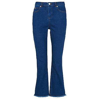 Raw Hem Cropped Cigarette Jeans, Denim - style: flares; length: standard; pattern: plain; waist: mid/regular rise; predominant colour: denim; occasions: casual; fibres: cotton - stretch; texture group: denim; pattern type: fabric; season: s/s 2016; wardrobe: basic