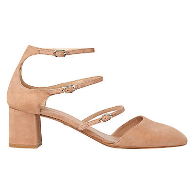 Montana Triple Strap Court Shoes - predominant colour: nude; material: suede; heel height: mid; ankle detail: ankle strap; heel: block; toe: pointed toe; style: courts; finish: plain; pattern: plain; occasions: creative work; season: s/s 2016; wardrobe: investment