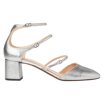 Montana Triple Strap Court Shoes - predominant colour: silver; material: suede; heel height: mid; ankle detail: ankle strap; heel: block; toe: pointed toe; style: courts; finish: plain; pattern: plain; occasions: creative work; season: s/s 2016; wardrobe: highlight