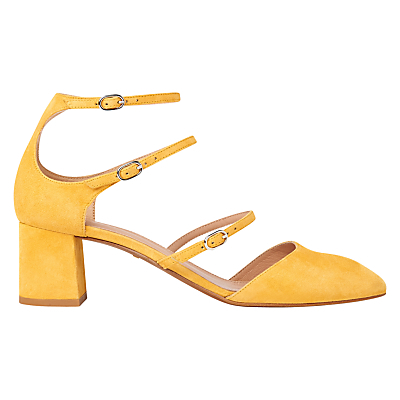 Montana Triple Strap Court Shoes - predominant colour: yellow; occasions: occasion, creative work; material: suede; heel height: mid; ankle detail: ankle strap; heel: block; toe: pointed toe; style: courts; finish: plain; pattern: plain; season: s/s 2016; wardrobe: highlight