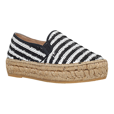 Milo Flatform Espadrilles, Black/White - secondary colour: white; predominant colour: black; occasions: casual, holiday; material: fabric; heel height: flat; embellishment: sequins; toe: round toe; finish: plain; pattern: striped; style: espadrilles; shoe detail: platform; multicoloured: multicoloured; season: s/s 2016; wardrobe: highlight