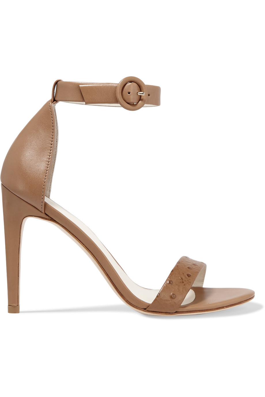 Rivington Ostrich Effect Leather Sandals Tan - predominant colour: tan; occasions: evening, occasion; material: leather; ankle detail: ankle strap; heel: stiletto; toe: open toe/peeptoe; style: standard; finish: plain; pattern: plain; heel height: very high; season: s/s 2016