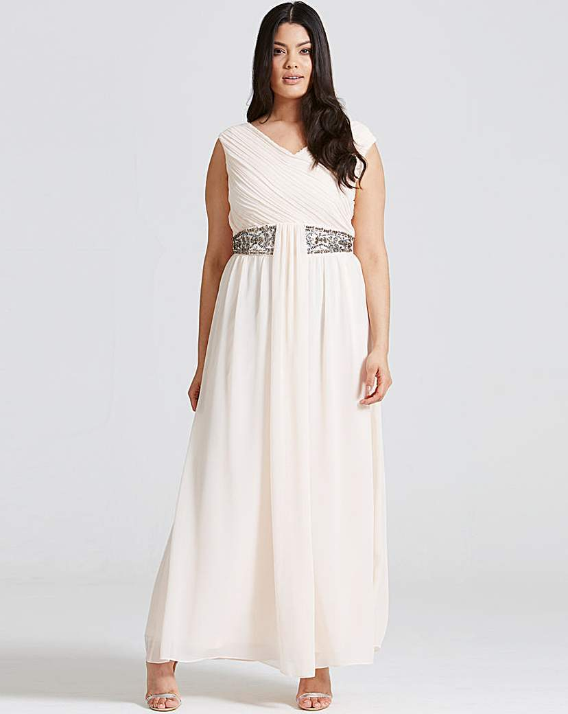 Little Mistress Nude Drape Maxi Dress - neckline: v-neck; pattern: plain; sleeve style: sleeveless; style: maxi dress; length: ankle length; waist detail: belted waist/tie at waist/drawstring; predominant colour: white; occasions: evening; fit: body skimming; fibres: polyester/polyamide - 100%; sleeve length: sleeveless; texture group: sheer fabrics/chiffon/organza etc.; pattern type: fabric; season: s/s 2016; wardrobe: event