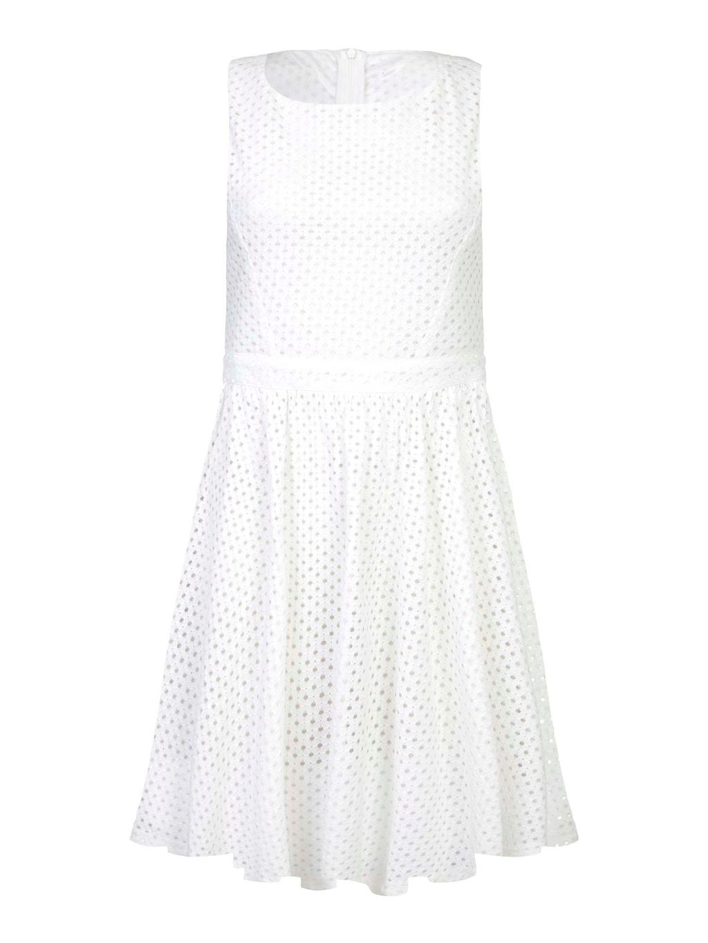 Lace Skater Dress, White - sleeve style: sleeveless; predominant colour: white; occasions: evening; length: just above the knee; fit: fitted at waist & bust; style: fit & flare; fibres: polyester/polyamide - 100%; neckline: crew; sleeve length: sleeveless; texture group: lace; pattern type: fabric; pattern size: standard; pattern: patterned/print; season: s/s 2016; wardrobe: event