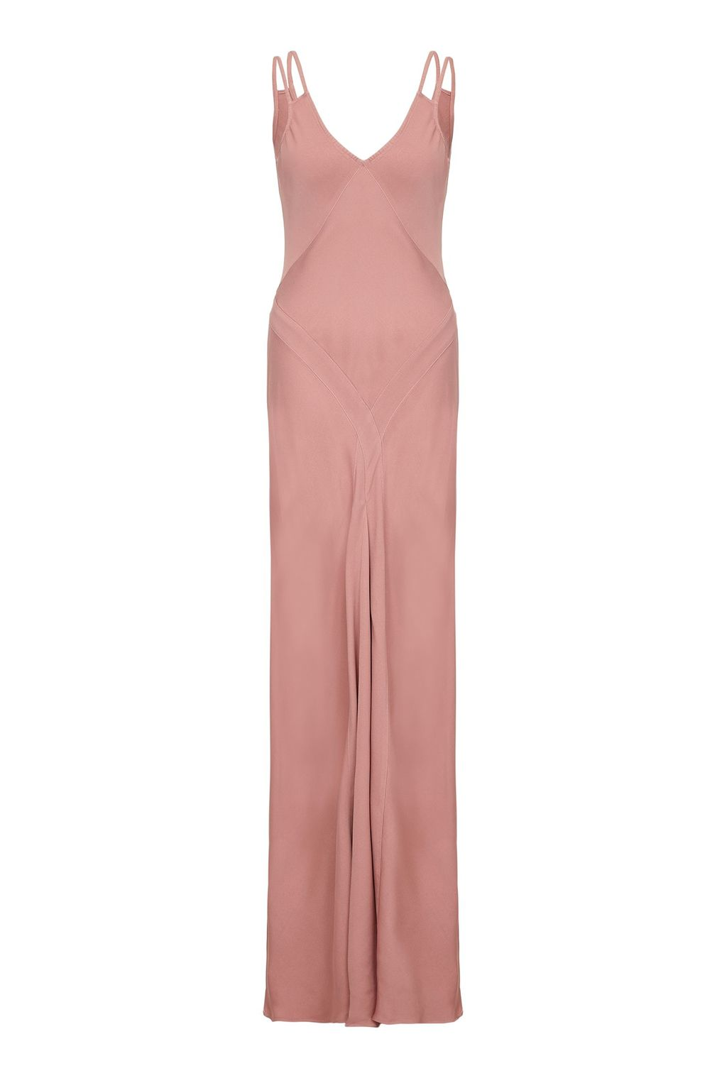 Mina Dress Rose Dawn, Pink - neckline: low v-neck; sleeve style: spaghetti straps; pattern: plain; style: maxi dress; predominant colour: pink; length: floor length; fit: body skimming; fibres: viscose/rayon - 100%; occasions: occasion; sleeve length: sleeveless; texture group: silky - light; pattern type: fabric; season: s/s 2016; wardrobe: event