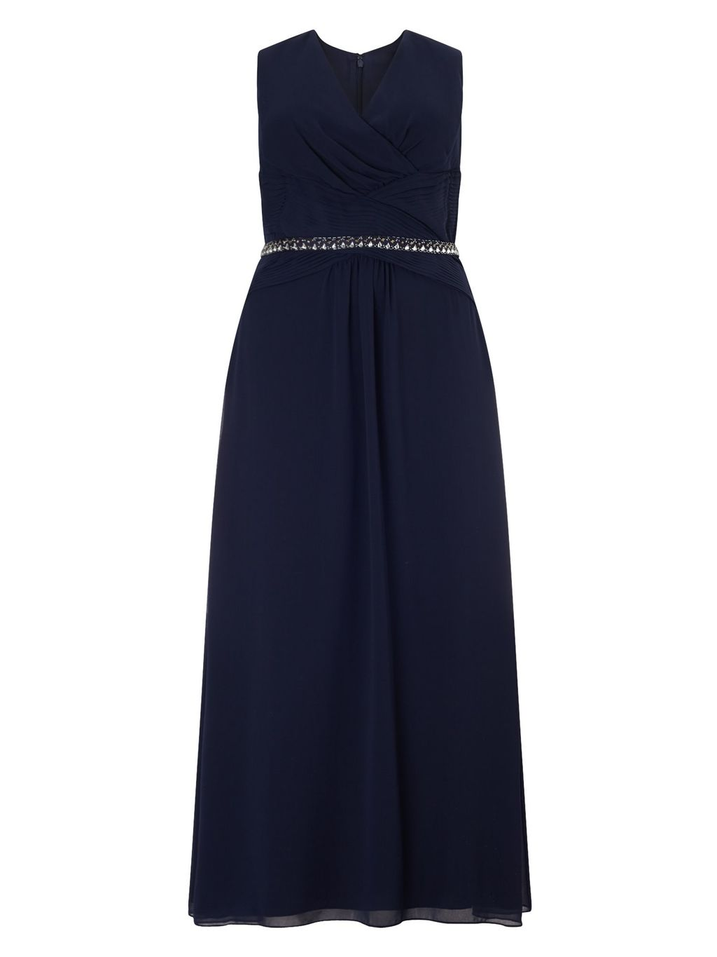 Jupiter Dress, Blue - neckline: v-neck; pattern: plain; sleeve style: sleeveless; style: maxi dress; length: ankle length; waist detail: embellishment at waist/feature waistband; predominant colour: navy; fit: soft a-line; fibres: polyester/polyamide - 100%; occasions: occasion; sleeve length: sleeveless; texture group: sheer fabrics/chiffon/organza etc.; pattern type: fabric; embellishment: crystals/glass; season: s/s 2016; wardrobe: event