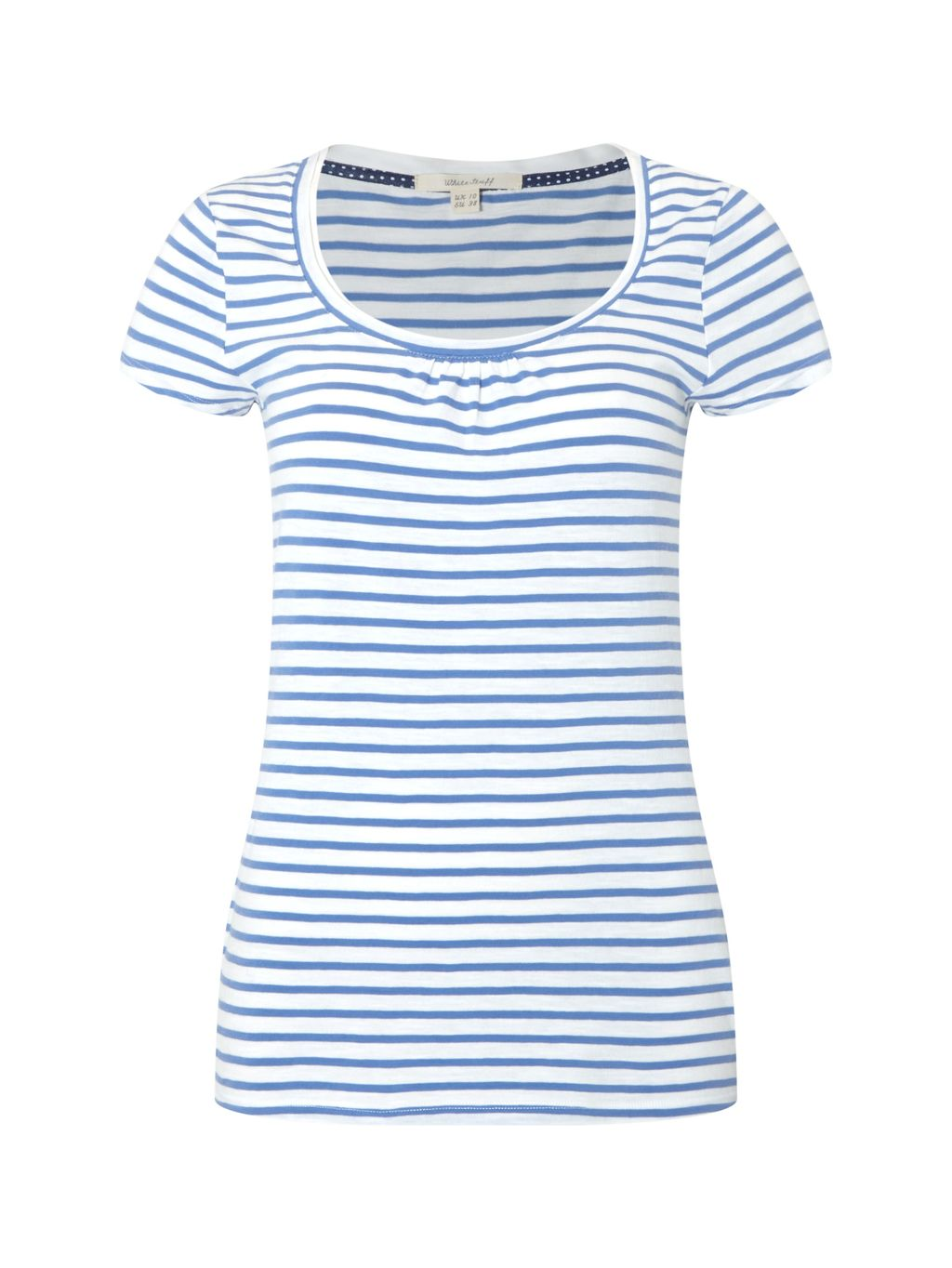 Ava Stripe Jersey Tee, Blue - sleeve style: capped; pattern: horizontal stripes; style: t-shirt; predominant colour: white; secondary colour: pale blue; occasions: casual; length: standard; neckline: scoop; fibres: cotton - stretch; fit: body skimming; sleeve length: short sleeve; texture group: jersey - clingy; pattern type: fabric; pattern size: standard; season: s/s 2016