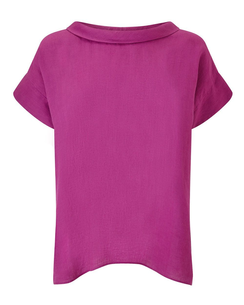 Bardot Neck Top, Magenta - sleeve style: capped; pattern: plain; neckline: high neck; style: t-shirt; predominant colour: magenta; occasions: casual; length: standard; fibres: linen - 100%; fit: straight cut; sleeve length: short sleeve; texture group: linen; pattern type: fabric; season: s/s 2016; wardrobe: highlight