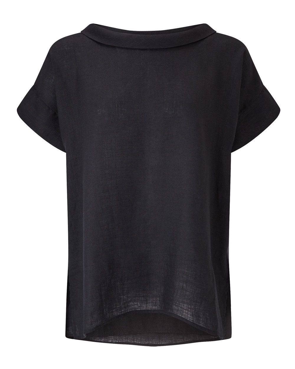 Bardot Neck Top, Black - pattern: plain; neckline: high neck; style: t-shirt; predominant colour: black; occasions: casual; length: standard; fibres: linen - 100%; fit: straight cut; sleeve length: short sleeve; sleeve style: standard; texture group: linen; pattern type: fabric; season: s/s 2016