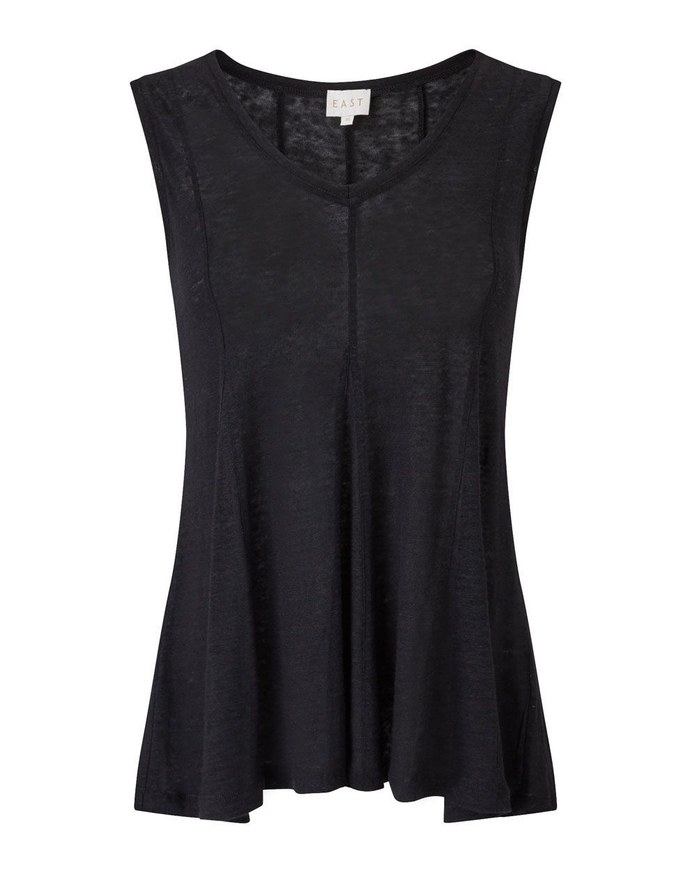 Godet Jersey Top, Black - neckline: v-neck; pattern: plain; sleeve style: sleeveless; style: vest top; predominant colour: black; occasions: casual; length: standard; fibres: linen - 100%; fit: loose; sleeve length: sleeveless; pattern type: fabric; texture group: jersey - stretchy/drapey; season: s/s 2016; wardrobe: basic
