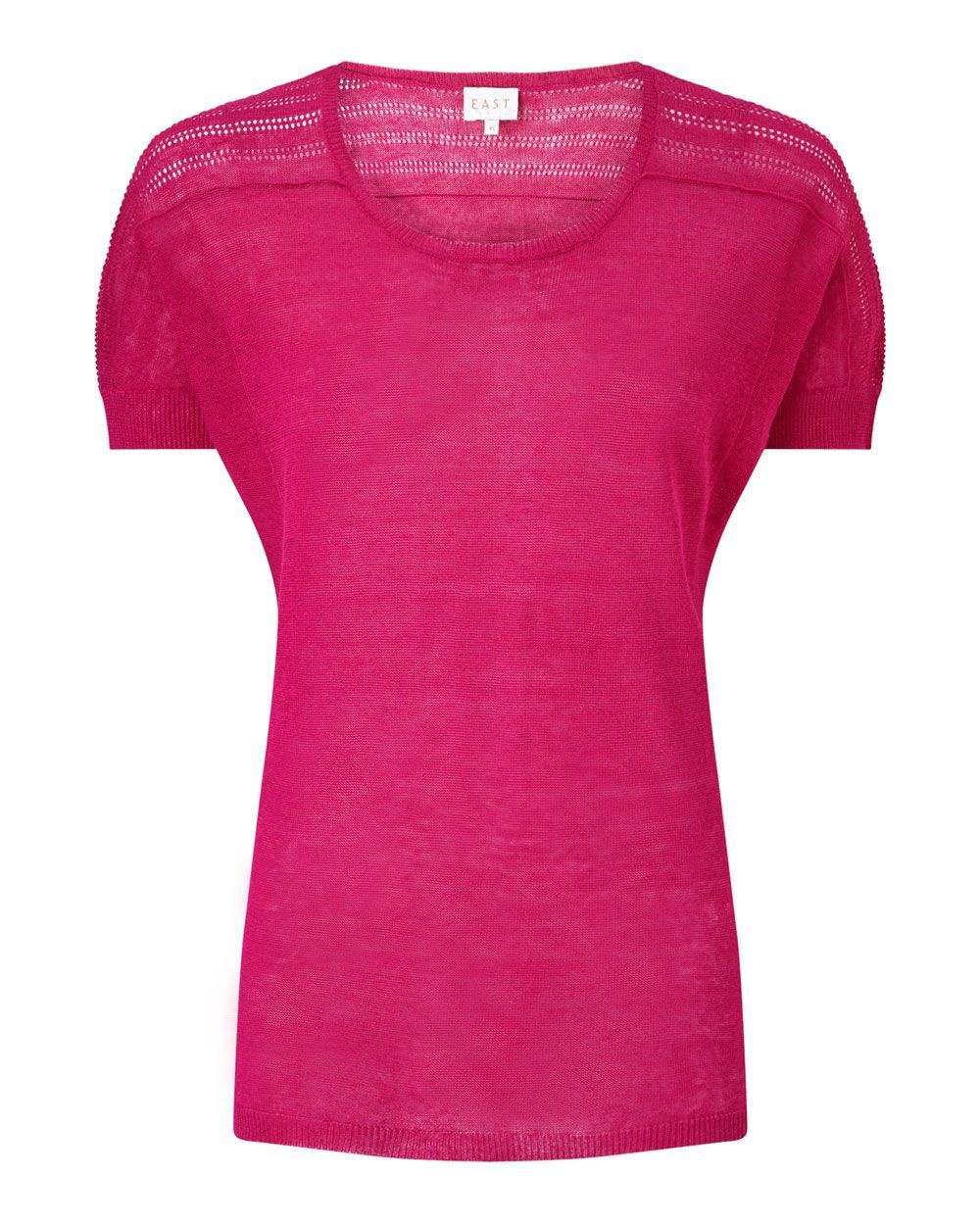 Pointelle Detail Top, Pink - neckline: round neck; pattern: plain; style: t-shirt; predominant colour: hot pink; occasions: casual, creative work; length: standard; fibres: linen - 100%; fit: body skimming; sleeve length: short sleeve; sleeve style: standard; pattern type: fabric; texture group: jersey - stretchy/drapey; season: s/s 2016; wardrobe: highlight