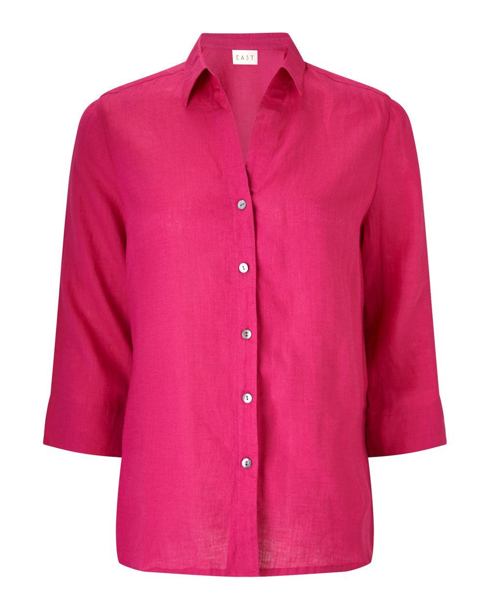 Linen Fitted Shirt, Pink - neckline: shirt collar/peter pan/zip with opening; pattern: plain; style: shirt; predominant colour: hot pink; occasions: casual, creative work; length: standard; fibres: linen - 100%; fit: body skimming; sleeve length: 3/4 length; sleeve style: standard; texture group: linen; pattern type: fabric; season: s/s 2016; wardrobe: highlight
