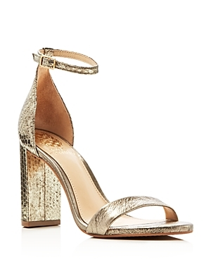 Mairana Metallic Embossed Ankle Strap High Heel Sandals - predominant colour: gold; occasions: evening, occasion; material: faux leather; heel height: high; ankle detail: ankle strap; heel: block; toe: open toe/peeptoe; style: standard; finish: metallic; pattern: plain; season: s/s 2016; wardrobe: event