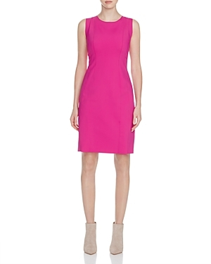 Marley Seamed Sheath Dress - style: shift; fit: tailored/fitted; pattern: plain; sleeve style: sleeveless; predominant colour: hot pink; occasions: evening; length: just above the knee; neckline: crew; sleeve length: sleeveless; pattern type: fabric; texture group: other - light to midweight; fibres: nylon - stretch; season: s/s 2016