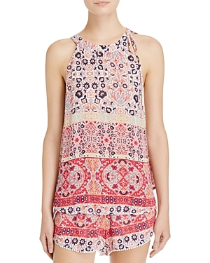 Boho Print Top - neckline: round neck; sleeve style: sleeveless; predominant colour: blush; occasions: casual; length: standard; style: top; fibres: viscose/rayon - 100%; fit: body skimming; sleeve length: sleeveless; pattern type: fabric; pattern: patterned/print; texture group: other - light to midweight; pattern size: big & busy (top); multicoloured: multicoloured; season: s/s 2016; wardrobe: highlight