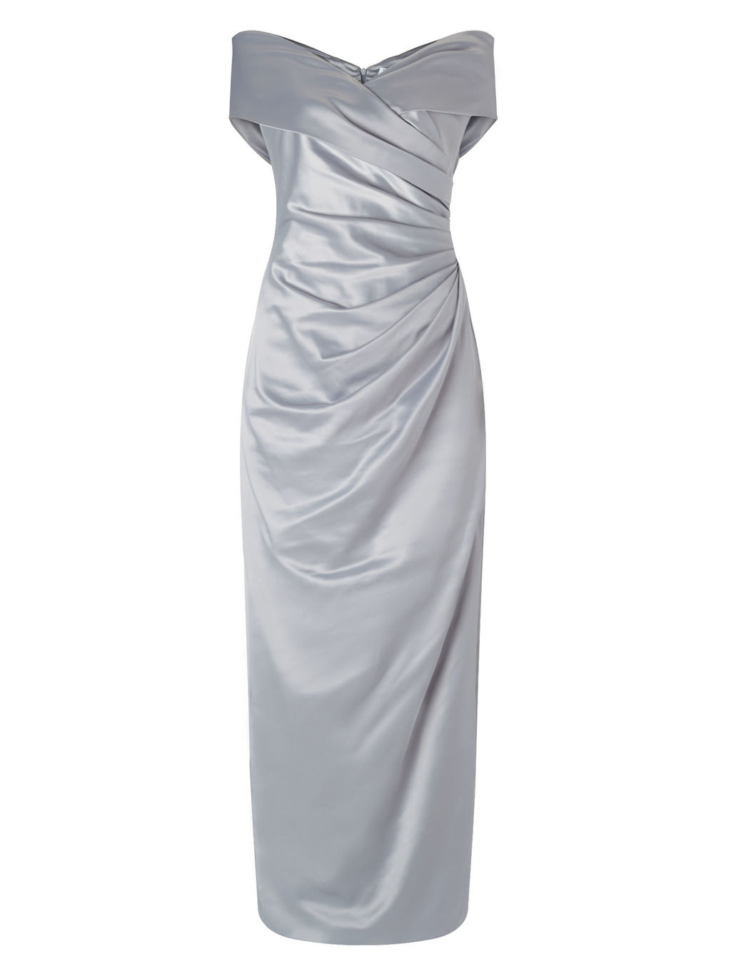 Lorcan Bardot Cross Front Maxi - neckline: v-neck; sleeve style: capped; fit: tailored/fitted; pattern: plain; style: maxi dress; predominant colour: silver; length: floor length; fibres: polyester/polyamide - stretch; occasions: occasion; sleeve length: short sleeve; texture group: structured shiny - satin/tafetta/silk etc.; pattern type: fabric; season: s/s 2016; wardrobe: event
