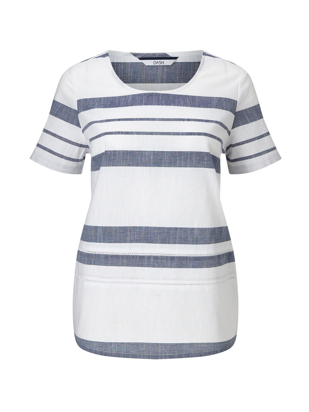 Woven Stripe Shell - pattern: horizontal stripes; style: t-shirt; predominant colour: white; secondary colour: denim; occasions: casual; length: standard; fibres: cotton - 100%; fit: straight cut; neckline: crew; sleeve length: short sleeve; sleeve style: standard; texture group: cotton feel fabrics; pattern type: fabric; pattern size: standard; season: s/s 2016; wardrobe: highlight
