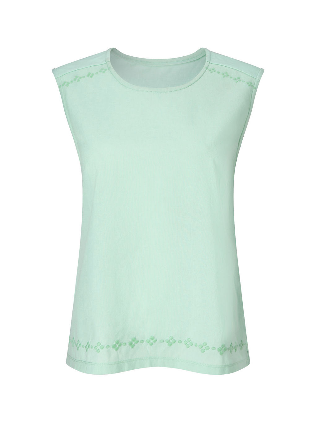 Lagoon Woven Jersey Top - pattern: plain; sleeve style: sleeveless; style: vest top; predominant colour: pistachio; occasions: casual; length: standard; fibres: cotton - 100%; fit: straight cut; neckline: crew; sleeve length: sleeveless; texture group: cotton feel fabrics; pattern type: fabric; embellishment: embroidered; season: s/s 2016; wardrobe: highlight