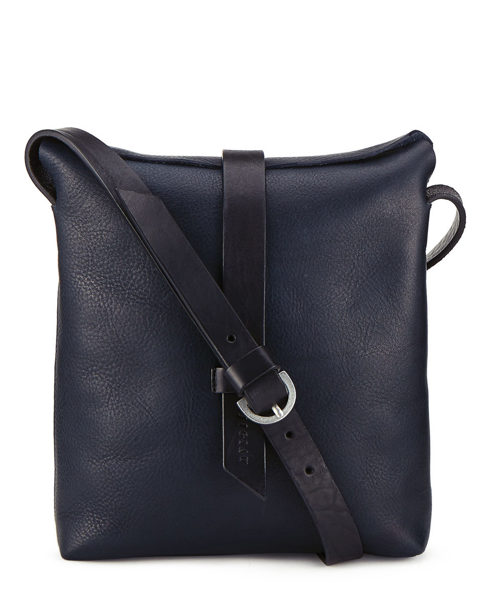 Elin Medium Shoulder Bag - predominant colour: navy; occasions: casual, creative work; type of pattern: standard; style: messenger; length: across body/long; size: standard; material: leather; pattern: plain; finish: plain; season: s/s 2016; wardrobe: basic