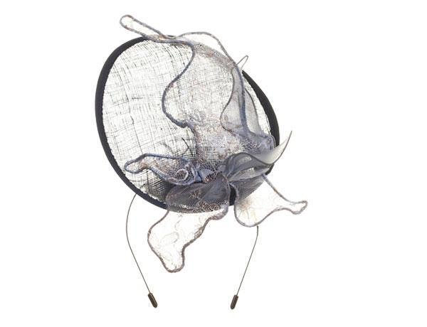 Blue Iris - predominant colour: navy; occasions: occasion; type of pattern: standard; style: fascinator; size: large; material: macrame/raffia/straw; pattern: plain; embellishment: feather; season: s/s 2016; wardrobe: event