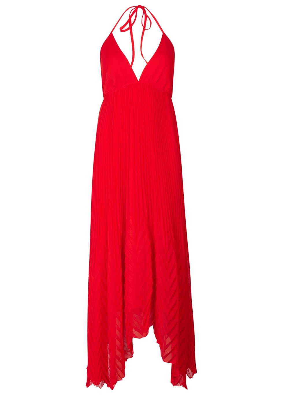 Adalyn Red Pleated Chiffon Maxi Dress - fit: empire; pattern: plain; sleeve style: sleeveless; style: maxi dress; length: ankle length; neckline: low halter neck; predominant colour: true red; occasions: evening; fibres: polyester/polyamide - 100%; sleeve length: sleeveless; pattern type: fabric; texture group: other - light to midweight; season: s/s 2016; wardrobe: event