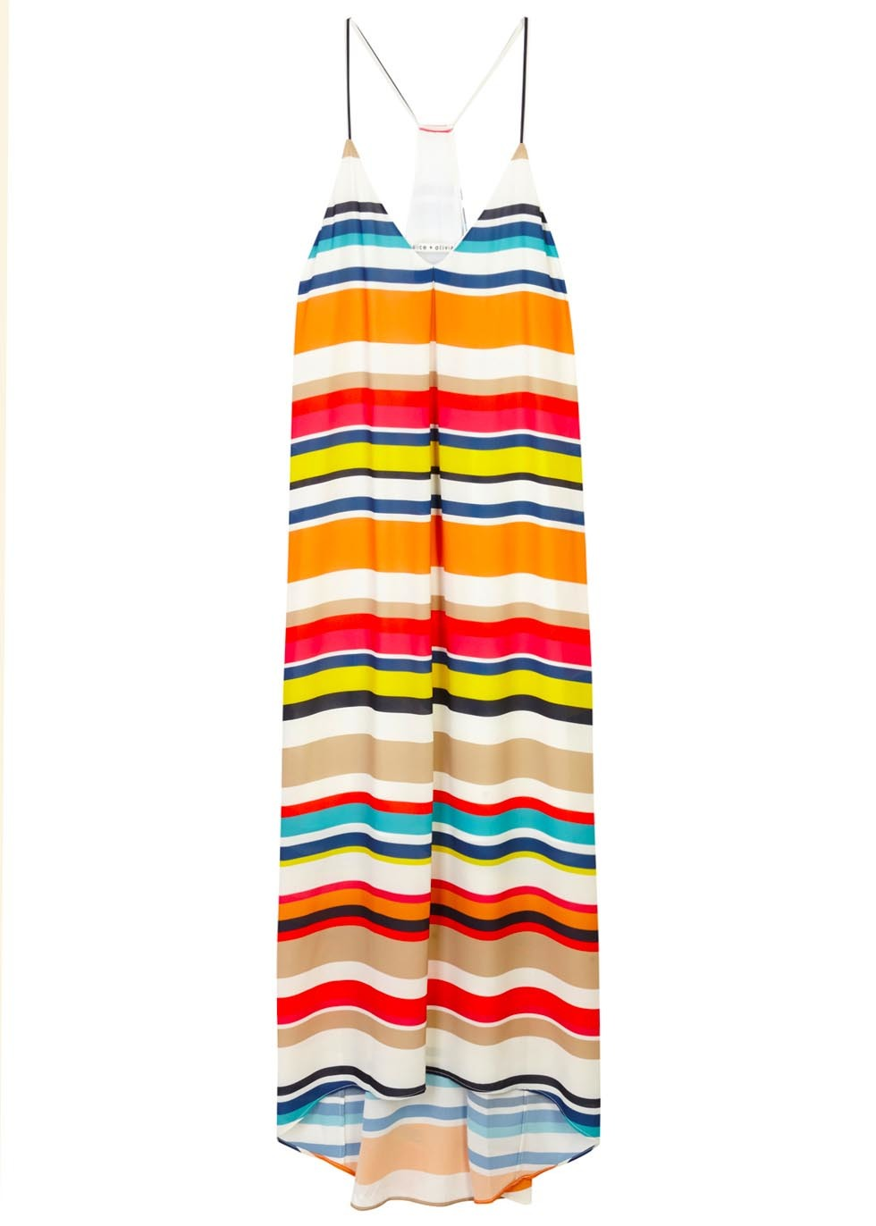 Cortes Striped Georgette Midi Dress - neckline: v-neck; sleeve style: spaghetti straps; fit: loose; pattern: horizontal stripes; style: maxi dress; length: ankle length; back detail: racer back/sports back; secondary colour: yellow; predominant colour: bright orange; occasions: evening; fibres: polyester/polyamide - 100%; sleeve length: sleeveless; pattern type: fabric; pattern size: standard; texture group: other - light to midweight; multicoloured: multicoloured; season: s/s 2016; wardrobe: event