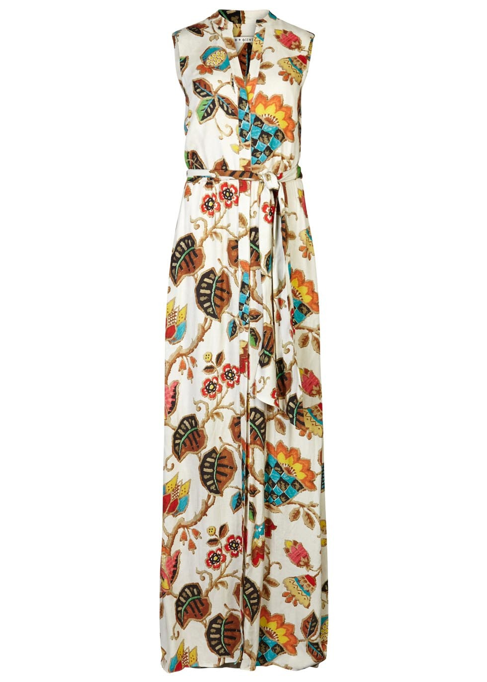 Marianna Printed Crepe Maxi Dress - fit: loose; sleeve style: sleeveless; style: maxi dress; waist detail: belted waist/tie at waist/drawstring; predominant colour: ivory/cream; secondary colour: bright orange; occasions: casual; length: floor length; neckline: collarstand & mandarin with v-neck; fibres: viscose/rayon - 100%; sleeve length: sleeveless; pattern type: fabric; pattern size: big & busy; pattern: florals; texture group: woven light midweight; multicoloured: multicoloured; season: s/s 2016; wardrobe: highlight