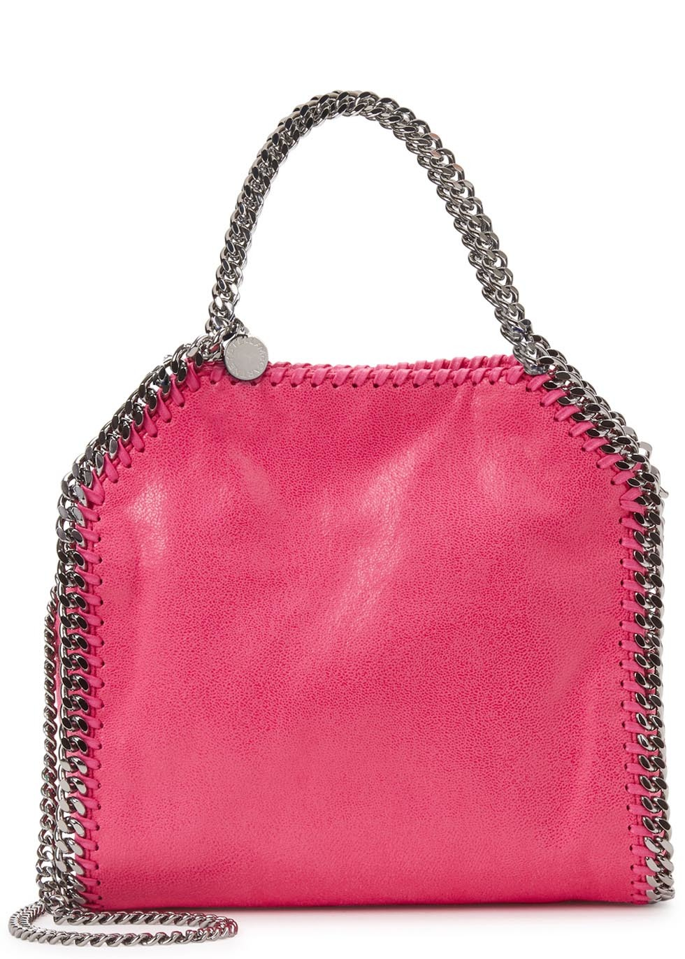 Falabella Mini Pink Faux Suede Tote - predominant colour: hot pink; secondary colour: silver; occasions: casual, creative work; type of pattern: standard; style: tote; length: handle; size: standard; material: faux leather; pattern: plain; finish: plain; embellishment: chain/metal; season: s/s 2016; wardrobe: highlight