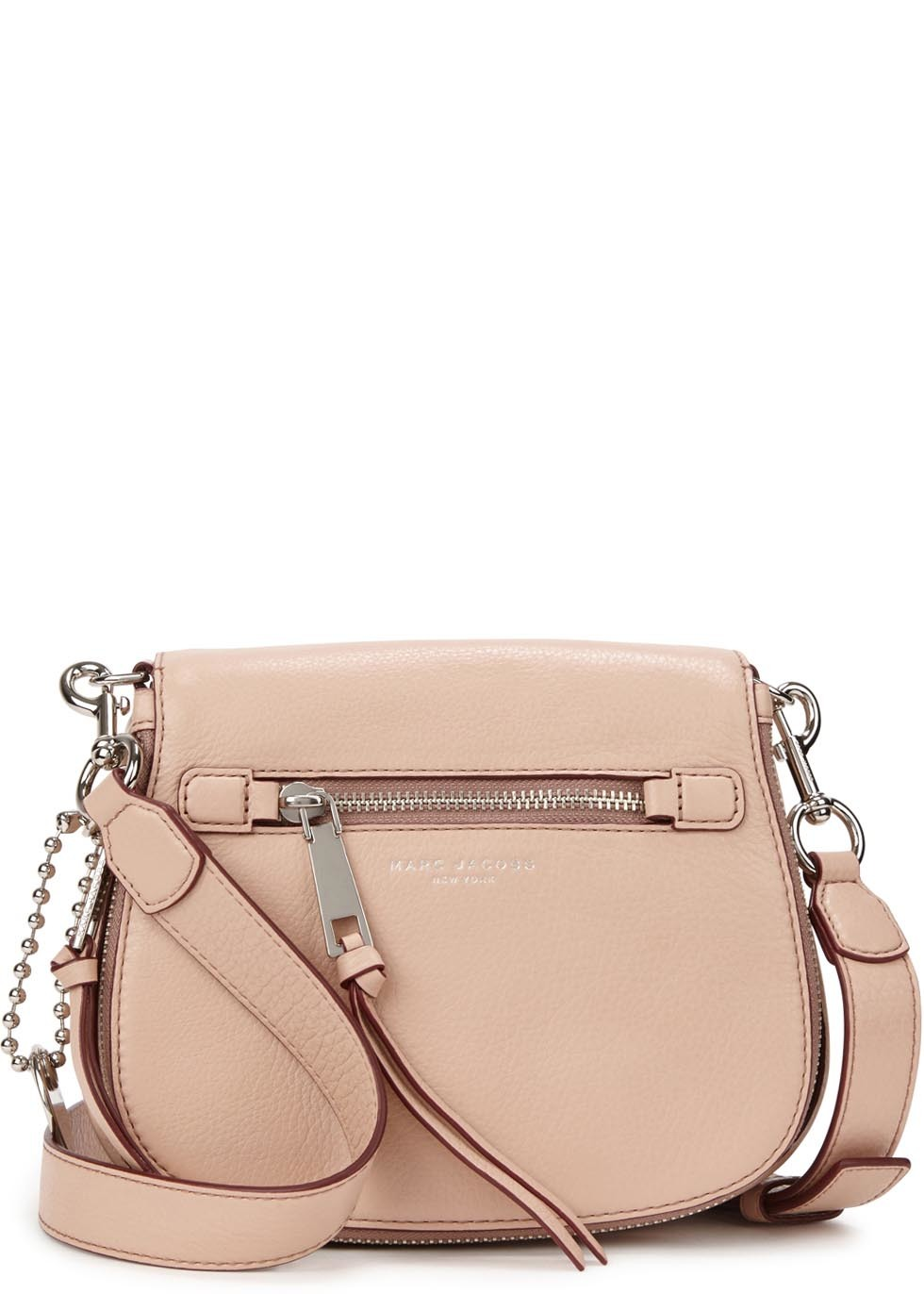 Recruit Small Blush Leather Shoulder Bag - predominant colour: blush; secondary colour: silver; occasions: casual, creative work; type of pattern: standard; style: saddle; length: across body/long; size: small; material: leather; pattern: plain; finish: plain; embellishment: chain/metal; season: s/s 2016; wardrobe: highlight
