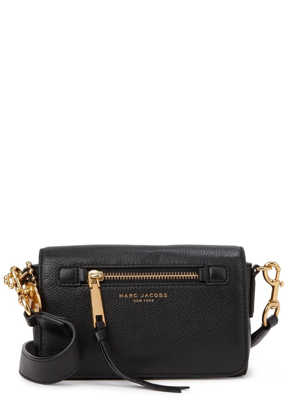 Recruit Black Leather Cross Body Bag - secondary colour: gold; predominant colour: black; occasions: casual; type of pattern: standard; style: messenger; length: across body/long; size: small; material: leather; pattern: plain; finish: plain; season: s/s 2016; wardrobe: basic