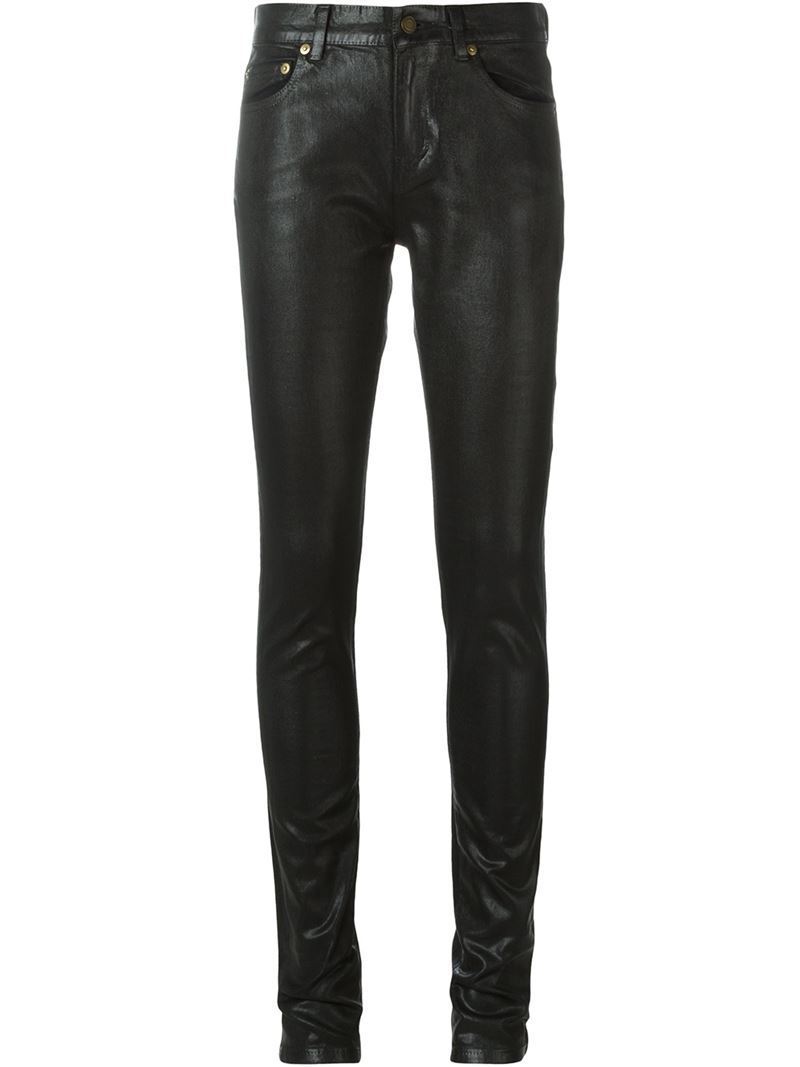 High Shine Skinny Jeans, Women's, Black - style: skinny leg; length: standard; pattern: plain; pocket detail: traditional 5 pocket; waist: mid/regular rise; predominant colour: black; occasions: casual, creative work; fibres: cotton - stretch; texture group: waxed cotton; pattern type: fabric; season: s/s 2016; wardrobe: highlight