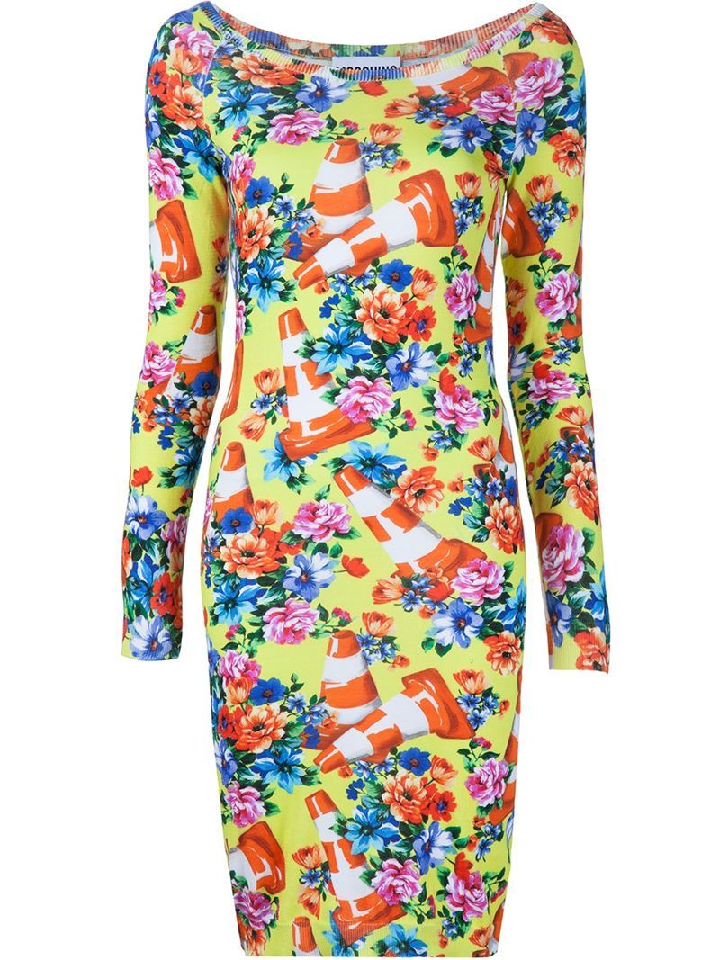 Floral And Traffic Cone Dress, Women's, Green - style: shift; neckline: slash/boat neckline; fit: tight; predominant colour: yellow; occasions: evening; length: just above the knee; fibres: cotton - 100%; sleeve length: long sleeve; sleeve style: standard; texture group: jersey - clingy; pattern type: fabric; pattern: patterned/print; multicoloured: multicoloured; season: s/s 2016; wardrobe: event
