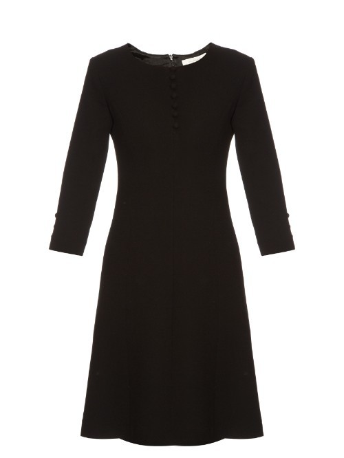 Carlotta Button Up Double Wool Crepe Dress - pattern: plain; predominant colour: black; occasions: work; length: just above the knee; fit: fitted at waist & bust; style: fit & flare; fibres: wool - mix; neckline: crew; sleeve length: 3/4 length; sleeve style: standard; pattern type: fabric; texture group: woven light midweight; season: s/s 2016; wardrobe: investment