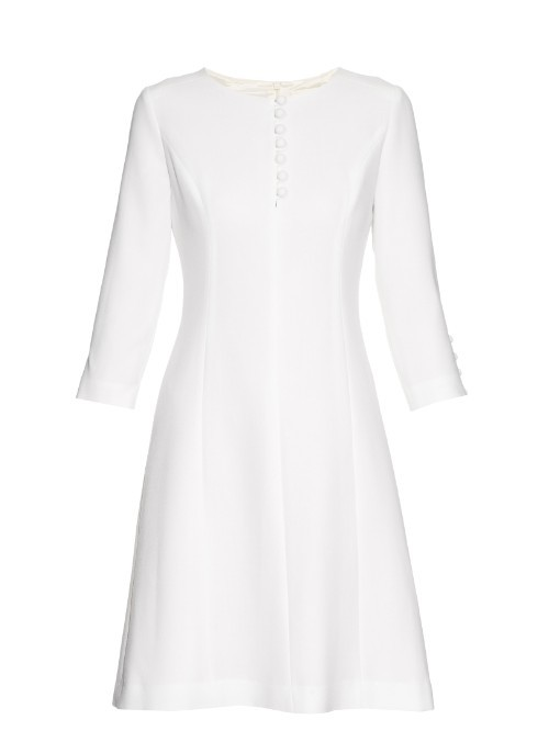 Carlotta Button Up Double Wool Crepe Dress - pattern: plain; predominant colour: white; length: just above the knee; fit: fitted at waist & bust; style: fit & flare; fibres: wool - mix; occasions: occasion; neckline: crew; sleeve length: 3/4 length; sleeve style: standard; pattern type: fabric; texture group: woven light midweight; season: s/s 2016; wardrobe: event