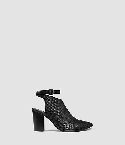 Ivy Heels - predominant colour: black; occasions: casual, creative work; material: leather; heel height: high; heel: block; toe: pointed toe; boot length: ankle boot; finish: plain; pattern: plain; style: cut outs; season: s/s 2016; wardrobe: highlight