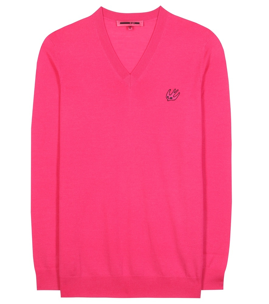 Wool Sweater - neckline: v-neck; pattern: plain; style: standard; predominant colour: hot pink; occasions: casual, creative work; length: standard; fibres: wool - 100%; fit: standard fit; sleeve length: long sleeve; sleeve style: standard; texture group: knits/crochet; pattern type: knitted - fine stitch; season: s/s 2016; wardrobe: highlight
