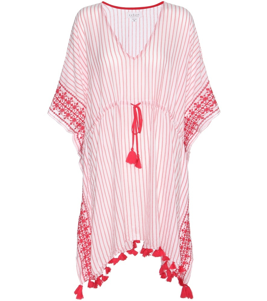 Janessa Embroidered Cotton Kaftan - length: mini; neckline: low v-neck; fit: loose; style: kaftan; sleeve style: kimono; pattern: striped; waist detail: belted waist/tie at waist/drawstring; secondary colour: blush; predominant colour: hot pink; fibres: cotton - 100%; sleeve length: 3/4 length; texture group: cotton feel fabrics; occasions: holiday; pattern type: fabric; pattern size: standard; season: s/s 2016; wardrobe: holiday
