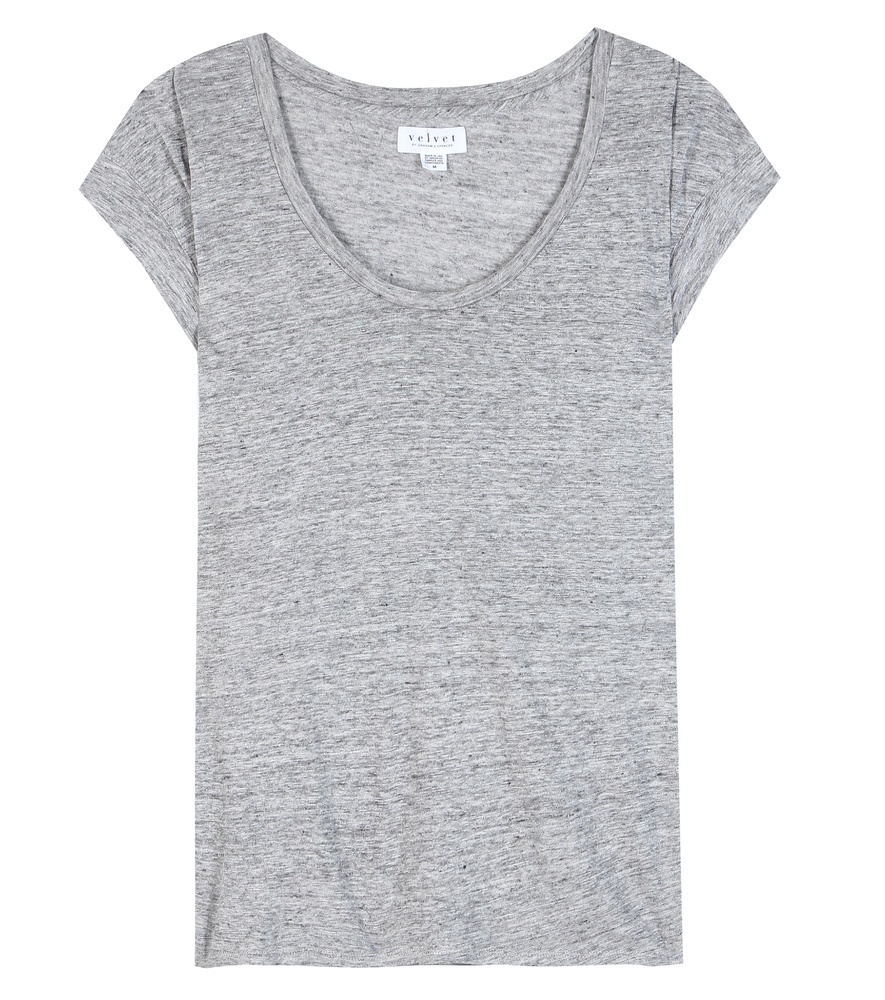 Rebekkah Linen Top - neckline: round neck; sleeve style: capped; pattern: plain; style: t-shirt; predominant colour: mid grey; occasions: casual; length: standard; fibres: linen - 100%; fit: straight cut; sleeve length: short sleeve; pattern type: fabric; texture group: jersey - stretchy/drapey; season: s/s 2016; wardrobe: basic