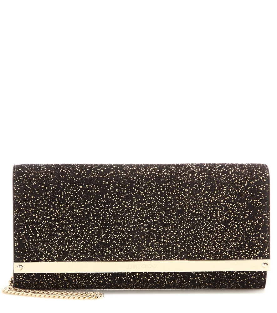Milla Metallic Suede Clutch - predominant colour: black; occasions: evening, occasion; type of pattern: standard; style: clutch; length: hand carry; size: small; material: suede; pattern: plain; finish: metallic; season: s/s 2016; wardrobe: event