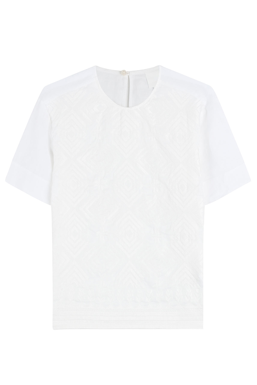 Embroidered Top - neckline: round neck; pattern: plain; predominant colour: white; occasions: casual, creative work; length: standard; style: top; fibres: cotton - 100%; fit: straight cut; sleeve length: short sleeve; sleeve style: standard; pattern type: fabric; texture group: other - light to midweight; embellishment: embroidered; season: s/s 2016; wardrobe: highlight